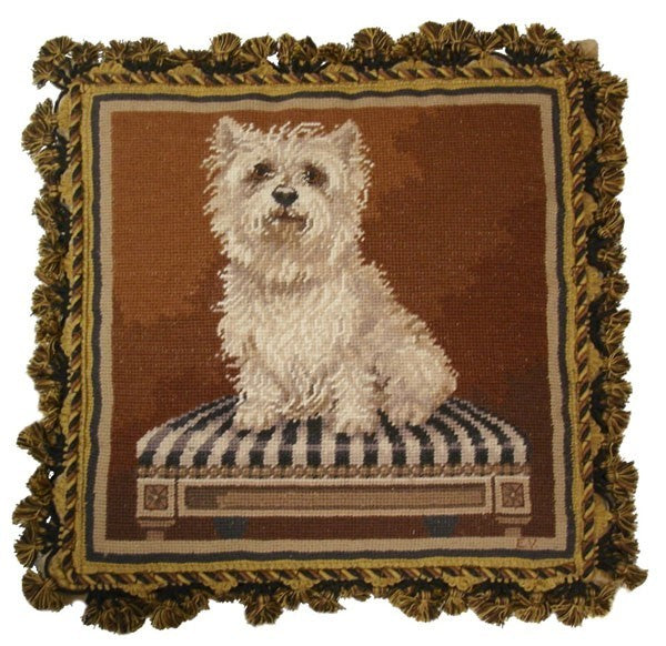 "AA- Westie on Chair - 17 by 17 "" needlepoint pillows"