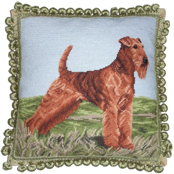 "Airdale - 17 x 17 "" needlepoint pillow"