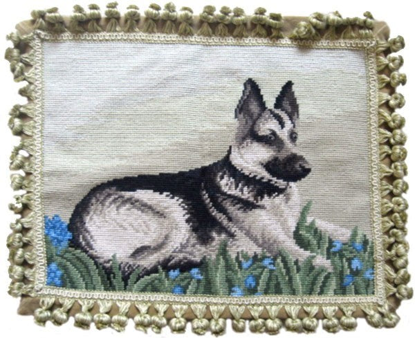 "German Shepherd - 14 x 18 "" needlepoint pillow"