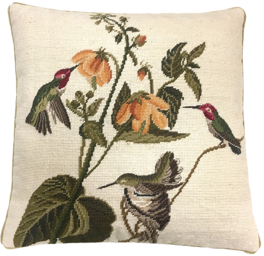 "AA- Three Birds - 20 x 20 "" needlepoint pillow"