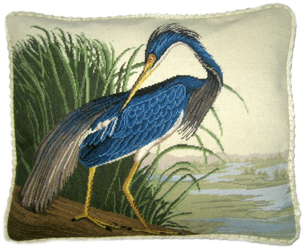 Blue Heron - Needlepoint Pillow 15x19