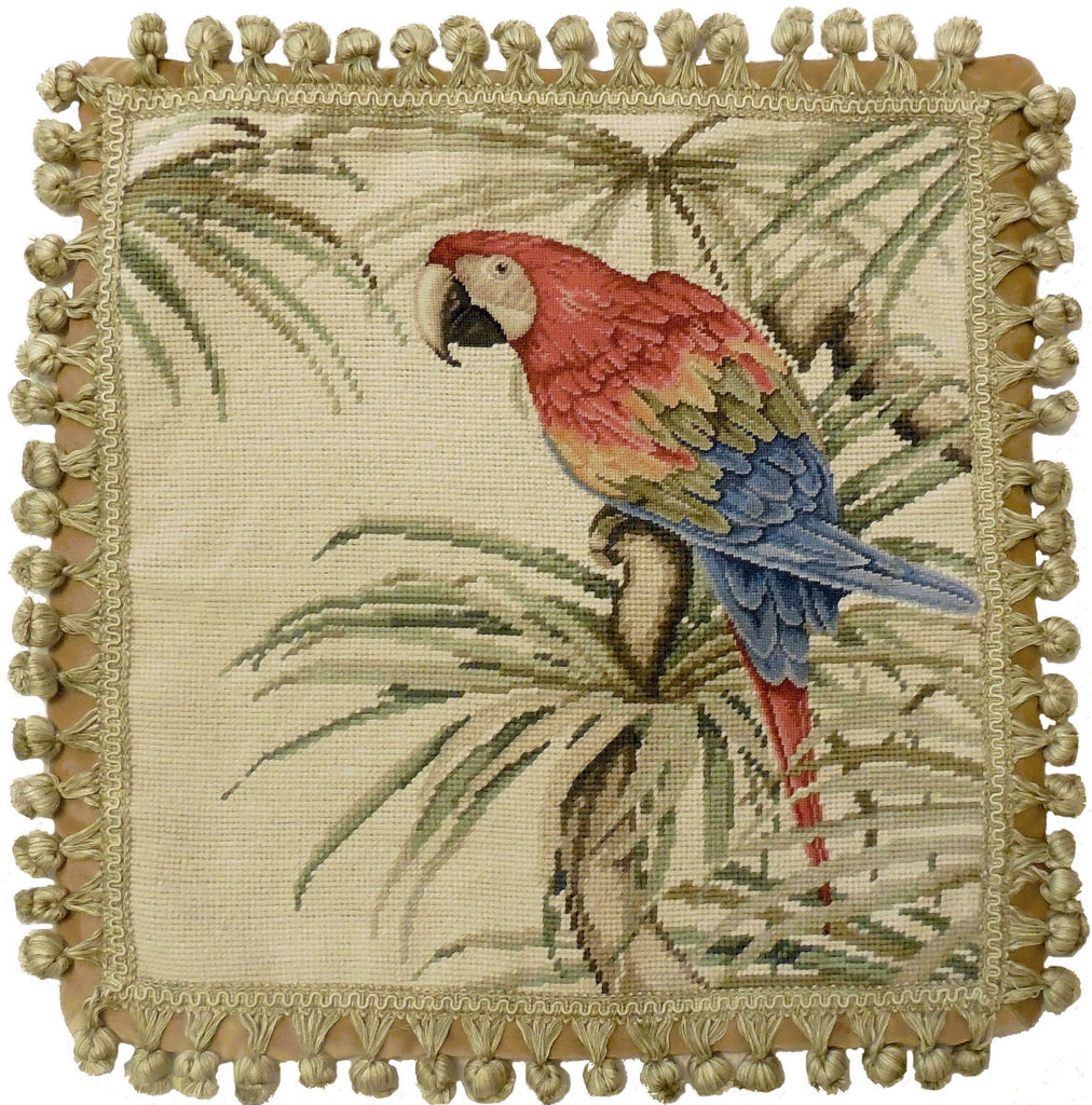 Parrot - Needlepoint Pillow 18x18