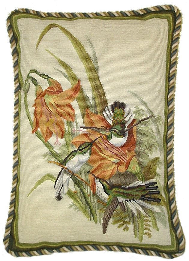 "Hummingbirds with Lillies - 16 by 12 "" needlepoint pillow"