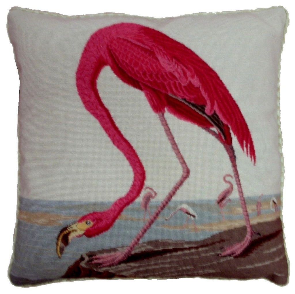 "Pink Flamingo - 19x 19 "" needlepoint pillow"