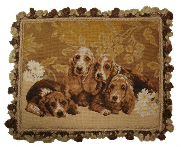"Four Dogs - 16 x 20 "" needlepoint pillow"