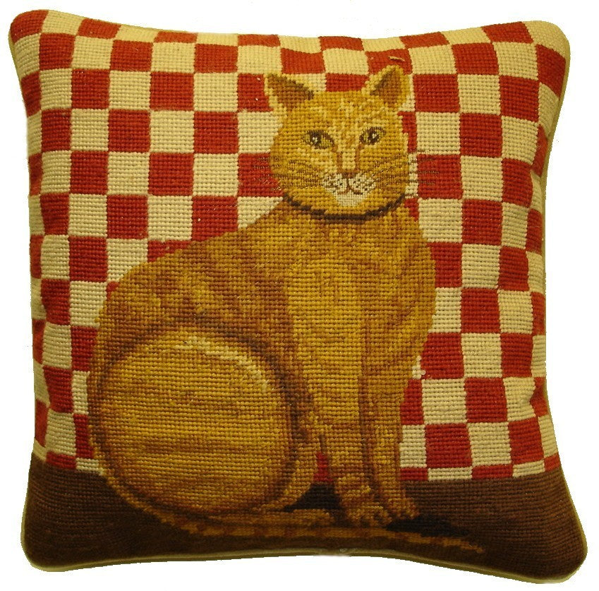 "Brown Cat Red Checks - 15 x 15 "" needlepoint pillow"