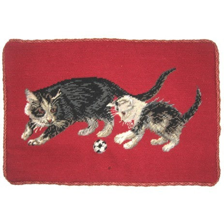 "Two Cats - 13 x 19 "" needlepoint pillow"