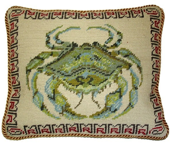 "Green Crab - 10 x 12 "" needlepoint pillow"