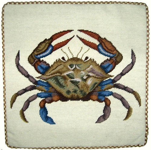 Big Blue Crab - 21 x 21 in. needlepoint pillow