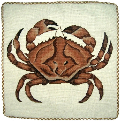 Big Brown Crab - 21 x 21 in. needlepoint pillow