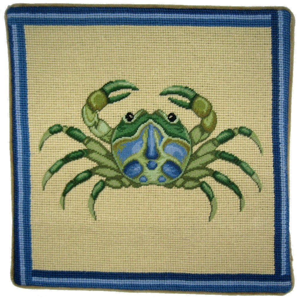 Green Crab - Needlepoint Pillow 13x13