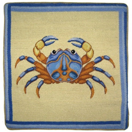 "Brown and Blue Crab - 13 x 13 "" needlepoint pillow"