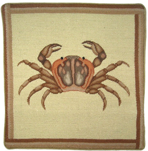 Brown Crab - 13 x 13 in. needlepoint pillow