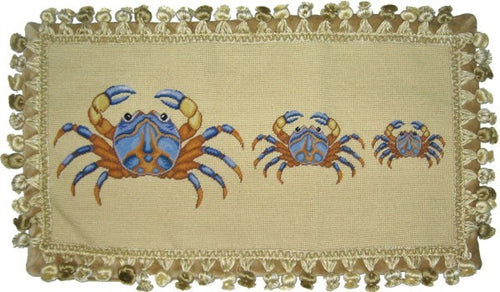 Three Blue Crabs - 12 x 22 in. needlepoint pillow