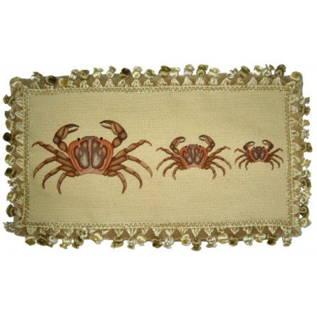 Three Brown Crabs - 12 x 22 in. needlepoint pillow