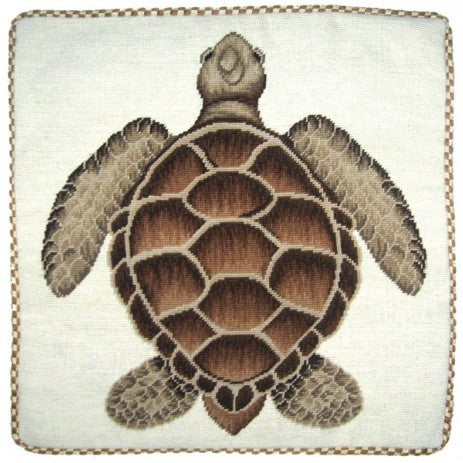 Brown Turtle - 21 x 21 in. needlepoint pillow