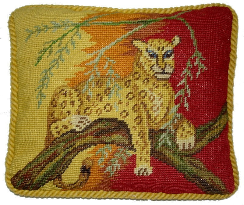 "Leopard in Tree - 10 x 12 "" needlepoint pillow"