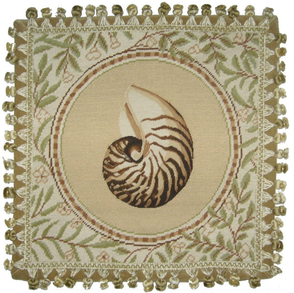 Nautilis - Needlepoint Pillow 18x18