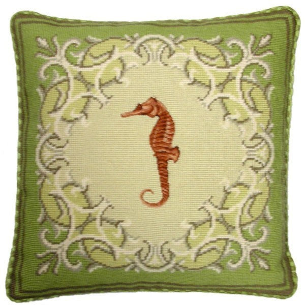 "AA- Seahorse on Green - 17 x 17 "" needlepoint pillow"