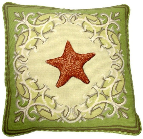 Starfish on Green - 17 x 17 in. needlepoint pillow