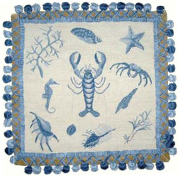 Lobster in Blue - 16 x 16 needlepoint pillow