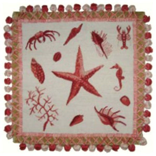 "AA- Pink Starfish - 16 x 16 "" needlepoint pillow"