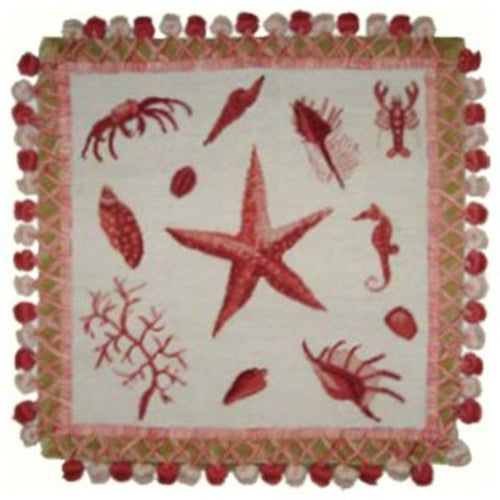 Pink Starfish - 16 x 16 in. needlepoint pillow