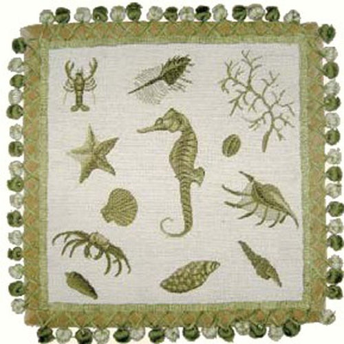 Seahorse on Green - 16 x 16 in. needlepoint pillow
