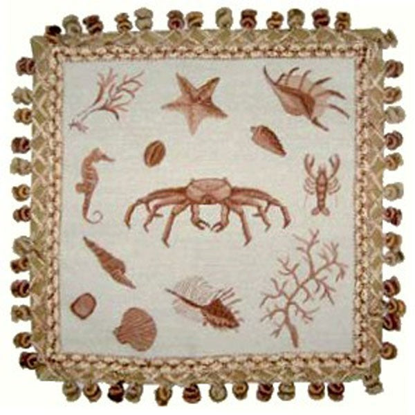 "Crab in Brown - 16 x 16 "" needlepoint pillow"