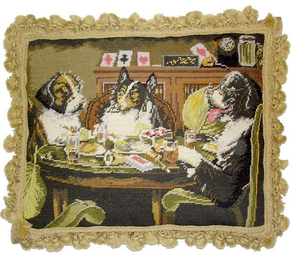 "Five Dogs at Cards - 18 x 22 "" needlepoint pillow"