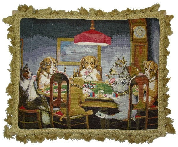 "Seven Dogs at Poker - 18 x 22 "" needlepoint pillow"