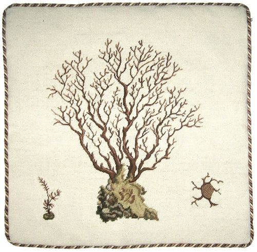Brown Coral - 21 x 21 in. needlepoint pillow