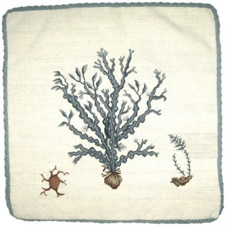 Blue Coral - 21 x 21 in. needlepoint pillow