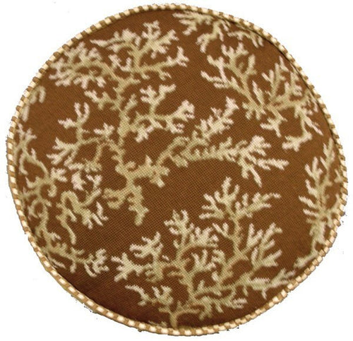 Coral on Brown Circle - 22 in. needlepoint pillow