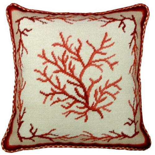 Red Coral - 17 x 17 in. needlepoint pillow