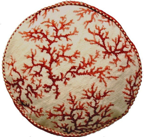 Red Coral Circle - 22 in. needlepoint pillow