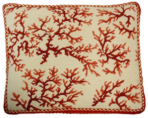 Pink Coral - 18 x 22 in. needlepoint pillow