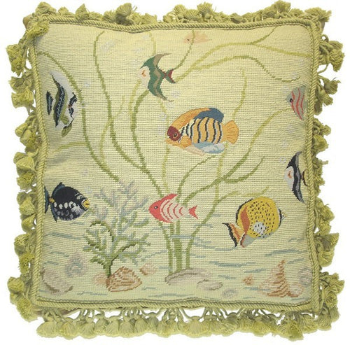 Ten Tropical Fish - 18 x 18 in. needlepoint pillow