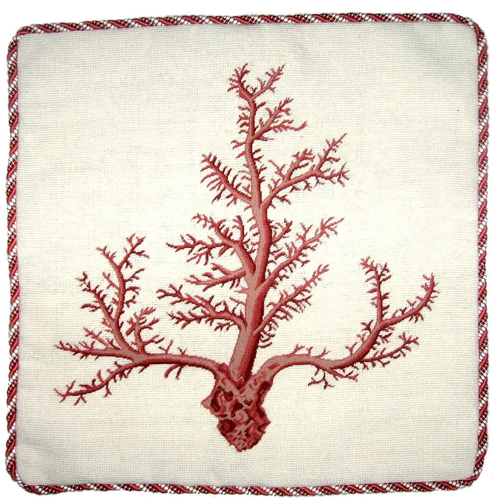 Pink Corals- Needlepoint Pillow 21x21