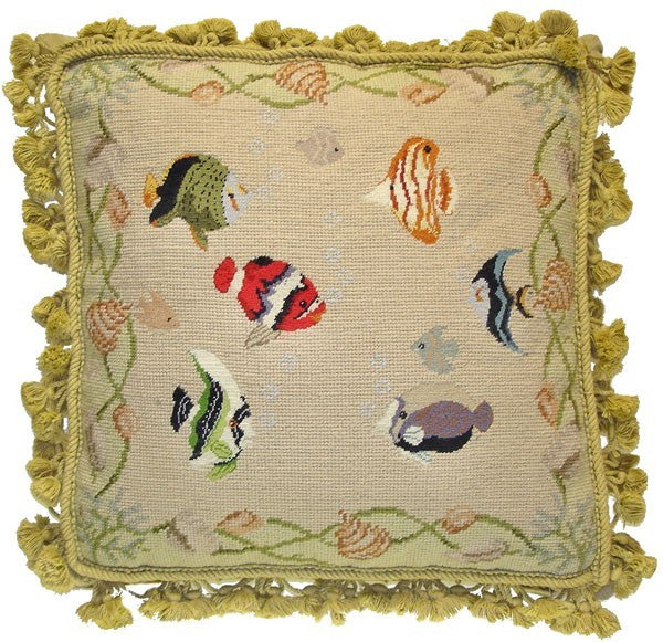 "AA- Six Tropical Fish - 18 x 18 "" needlepoint pillow"