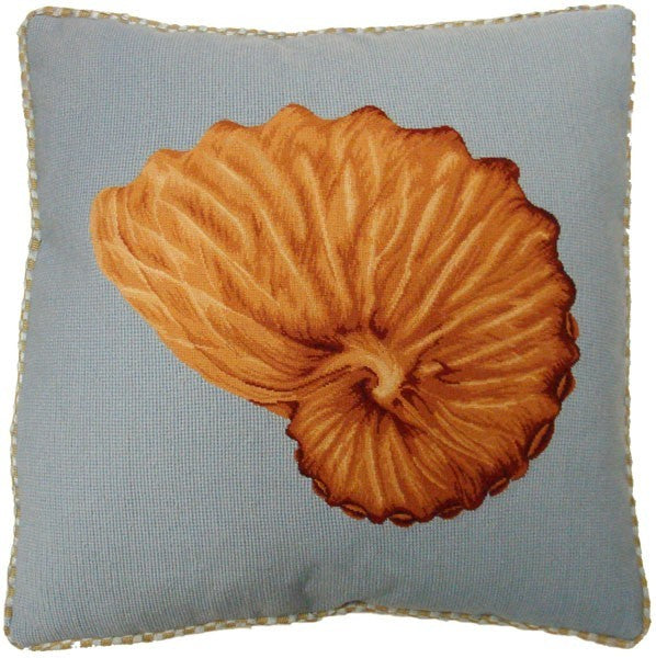 "Brown Shell on Blue - 21 x 21 "" needlepoint pillow"