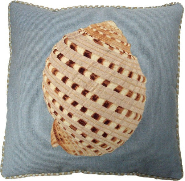 "AA- Shell Design on Blue - 21 x 21 "" needlepoint pillow"