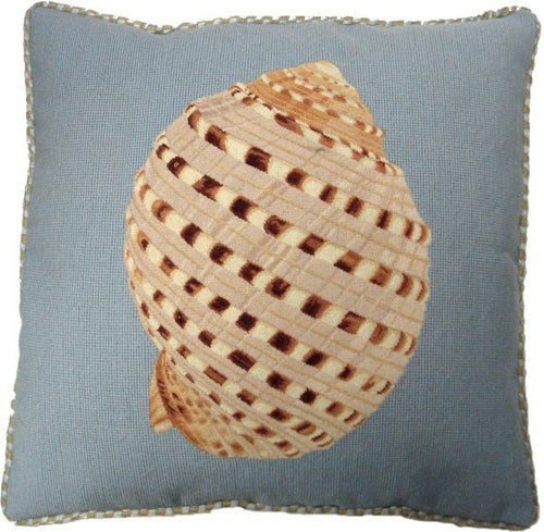 Shell Design on Blue - 21 x 21 in. needlepoint pillow