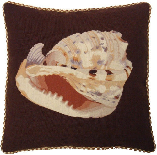 Giant Smiling Shell - 21 x 21 in. needlepoint pillow