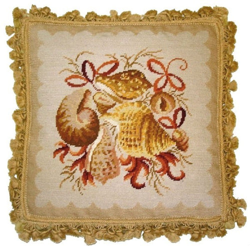 Shells in Pink - 18 x 18 in. needlepoint pillow