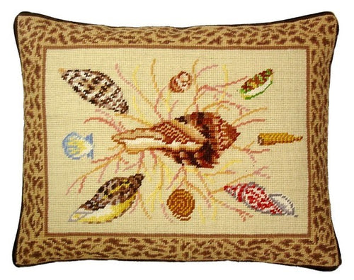 Seashells with Brown - 14 x 18 in. needlepoint pillow