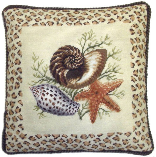 Starfish and Shells - 17 x 17 in. needlepoint pillow