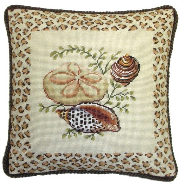 "AA- Sand Dollar and Two Shells  - 17 by 17 "" needlepoint pillow"