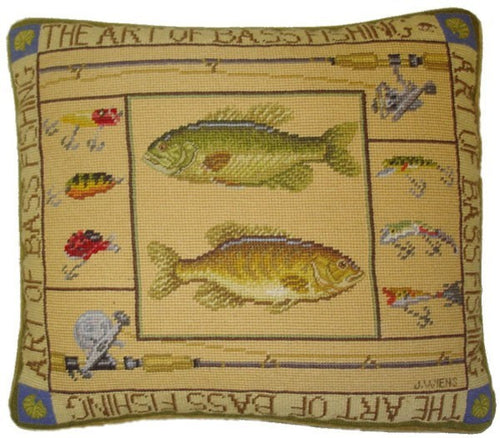 Fishes and Lures - 16 by 18 in. needlepoint pillow