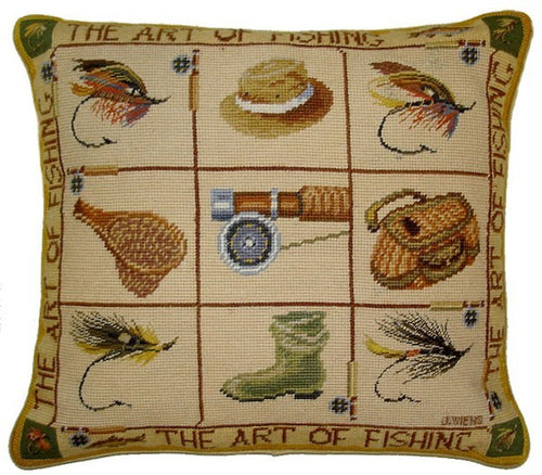 Fishing Equipment - 16 by 18 in. needlepoint pillow